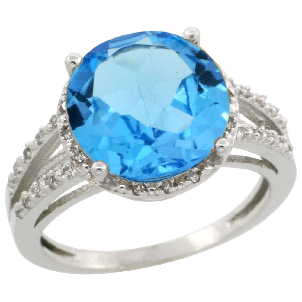 14K White Gold Diamond Natural Swiss Blue Topaz Ring Round 11mm, sizes 5-10