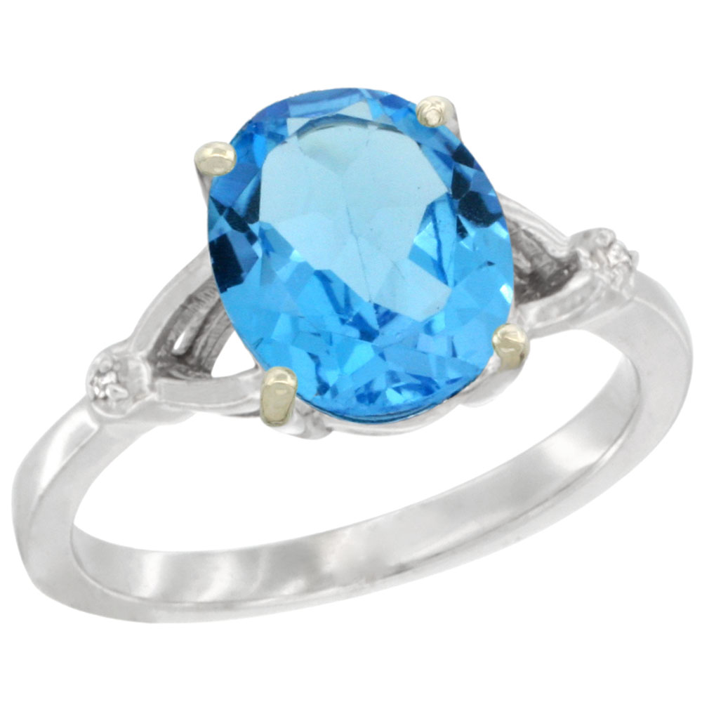 10K White Gold Diamond Natural Swiss Blue Topaz Engagement Ring Oval 10x8mm, sizes 5-10