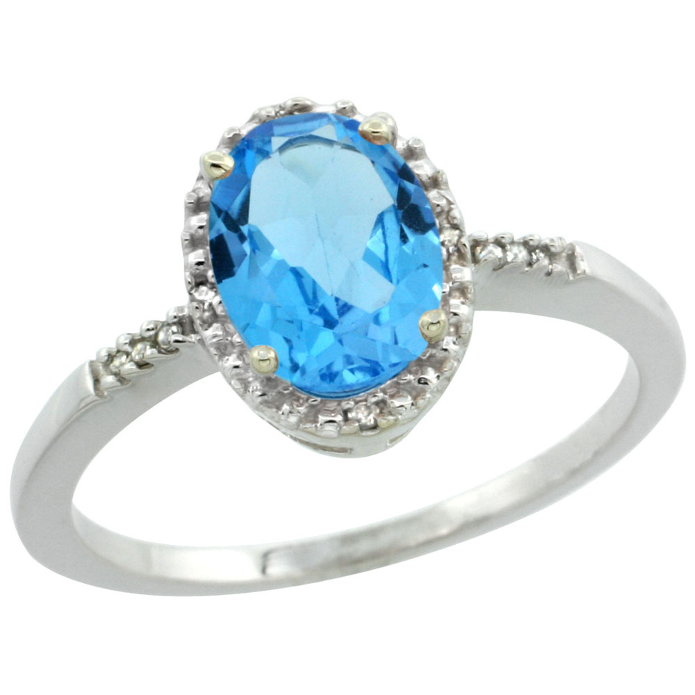 14K White Gold Diamond Natural Swiss Blue Topaz Ring Oval 8x6mm, sizes 5-10