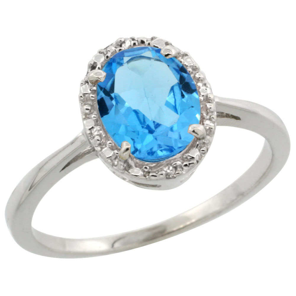 14K White Gold Natural Swiss Blue Topaz Ring Oval 8x6 mm Diamond Halo, sizes 5-10