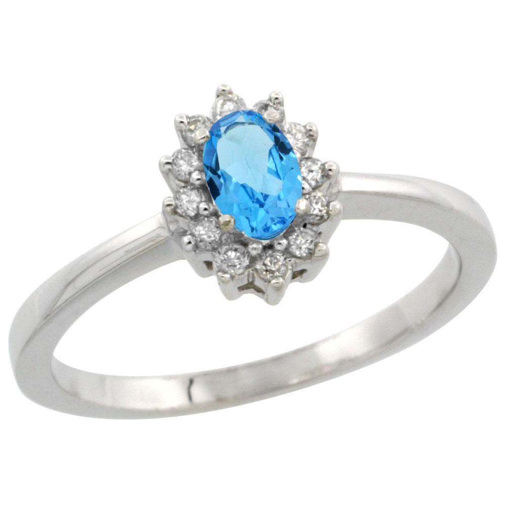 10k White Gold Natural Swiss Blue Topaz Ring Oval 5x3mm Diamond Halo, sizes 5-10