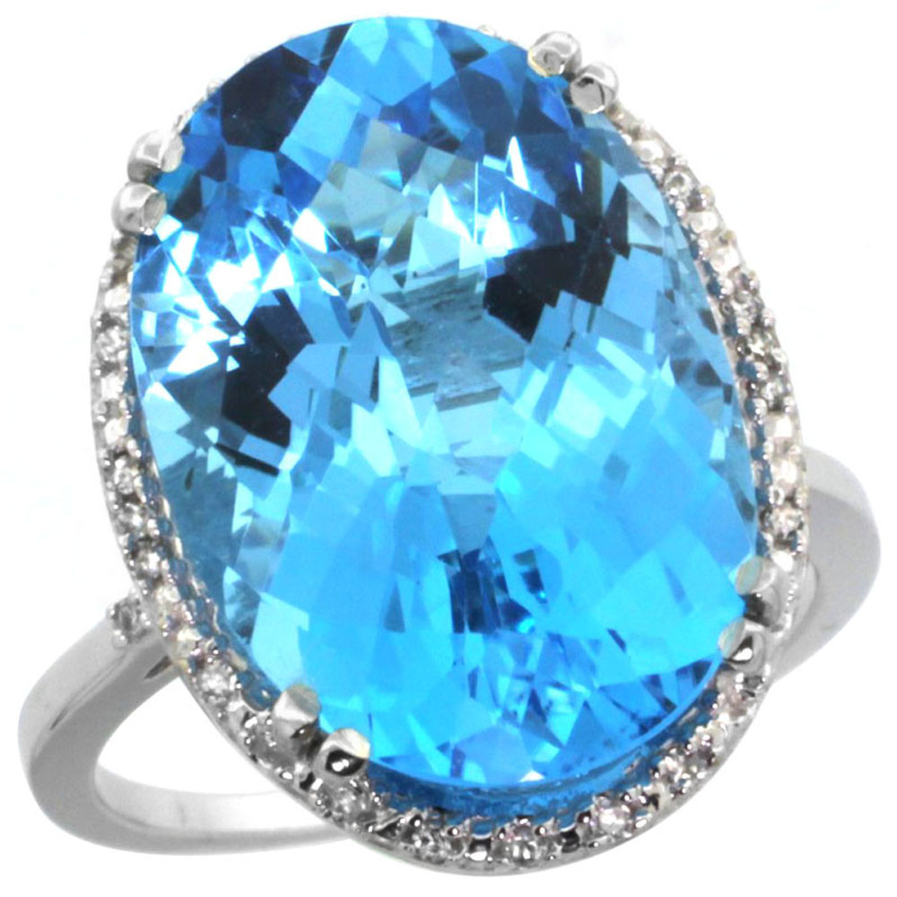 14K White Gold Natural Swiss Blue Topaz Ring Large Oval 18x13mm Diamond Halo, sizes 5-10