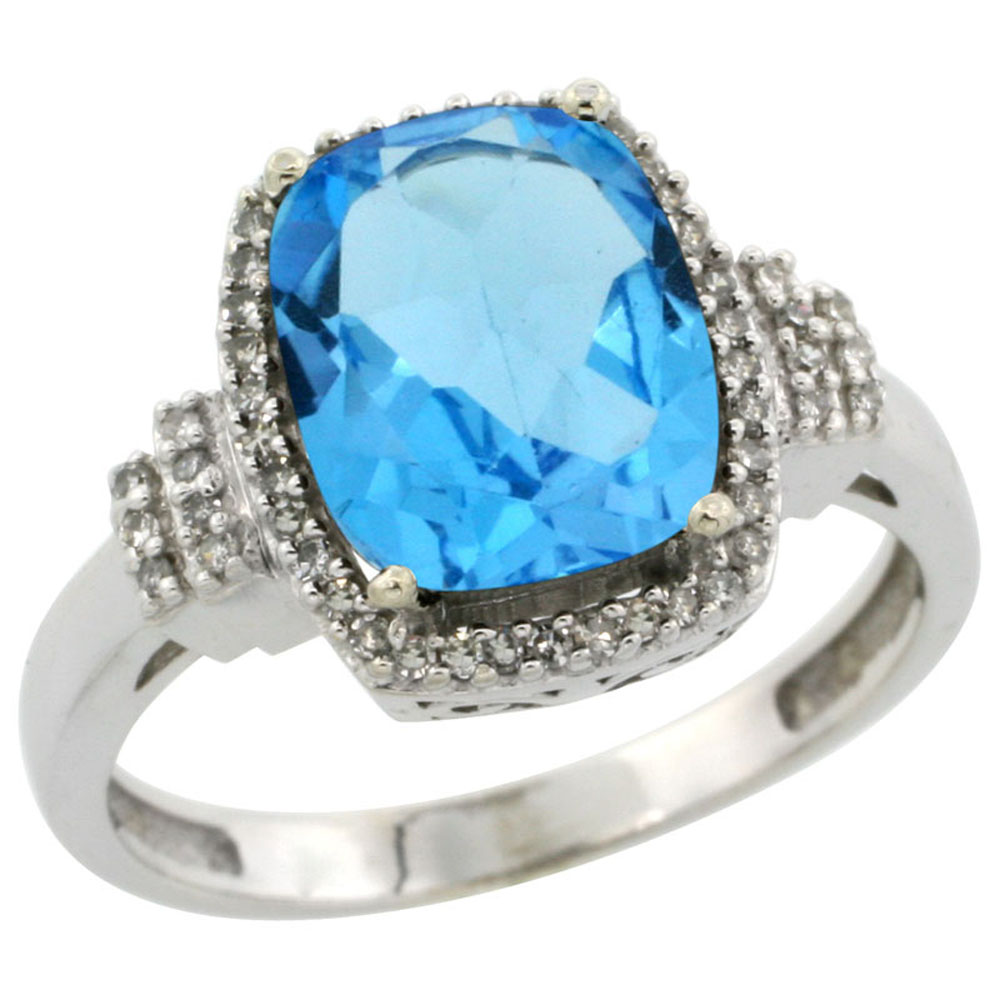 14K White Gold Natural Swiss Blue Topaz Ring Cushion-cut 9x7mm Diamond Halo, sizes 5-10
