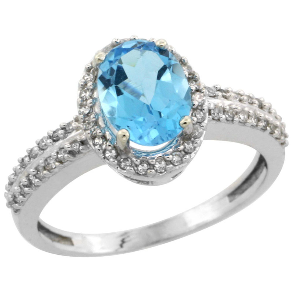 10k White Gold Natural Swiss Blue Topaz Ring Oval 8x6mm Diamond Halo, sizes 5-10