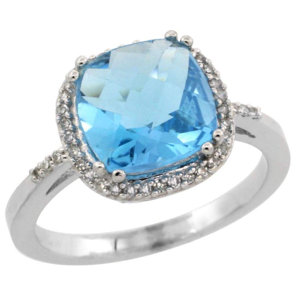 14K White Gold Diamond Natural Swiss Blue Topaz Ring Cushion-cut 9x9mm, sizes 5-10