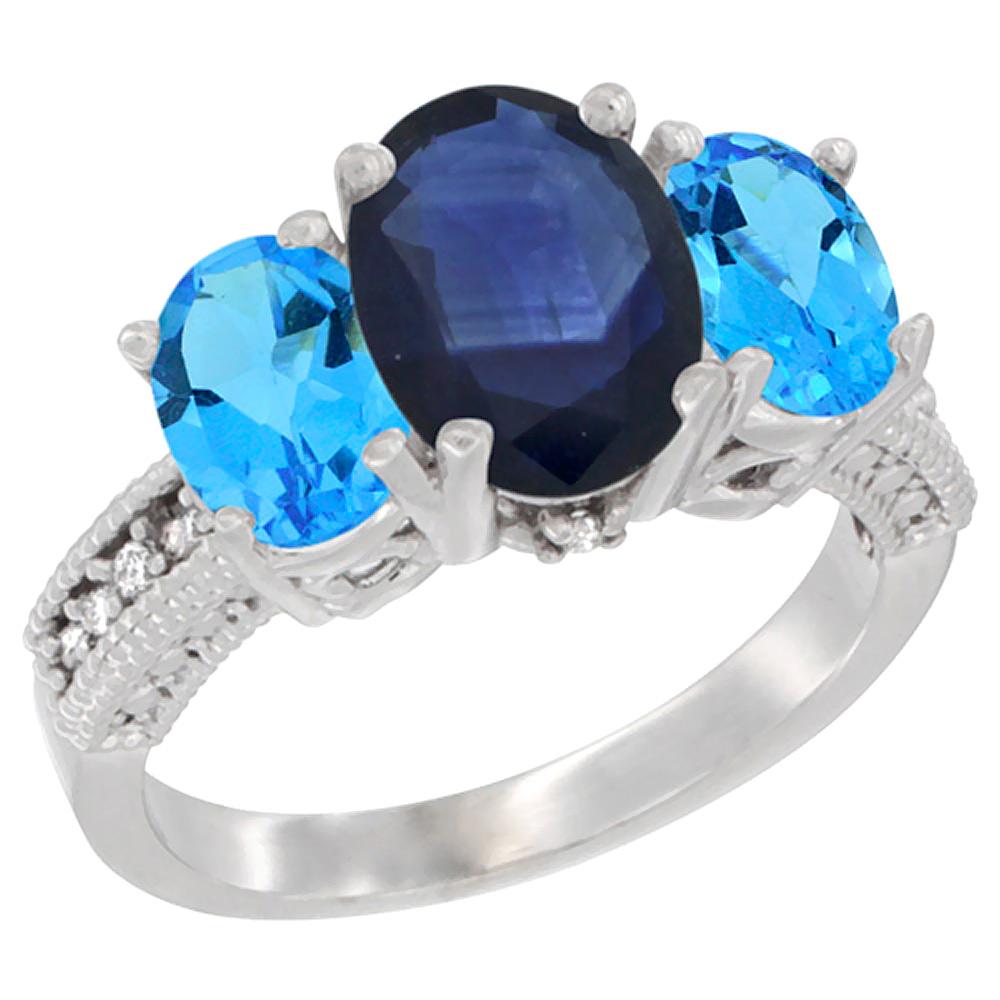 10K White Gold Diamond Natural Quality Blue Sapphire 8x6mm&7x5mm Swiss Blue TopazOval 3-stone Ring,sz5-10