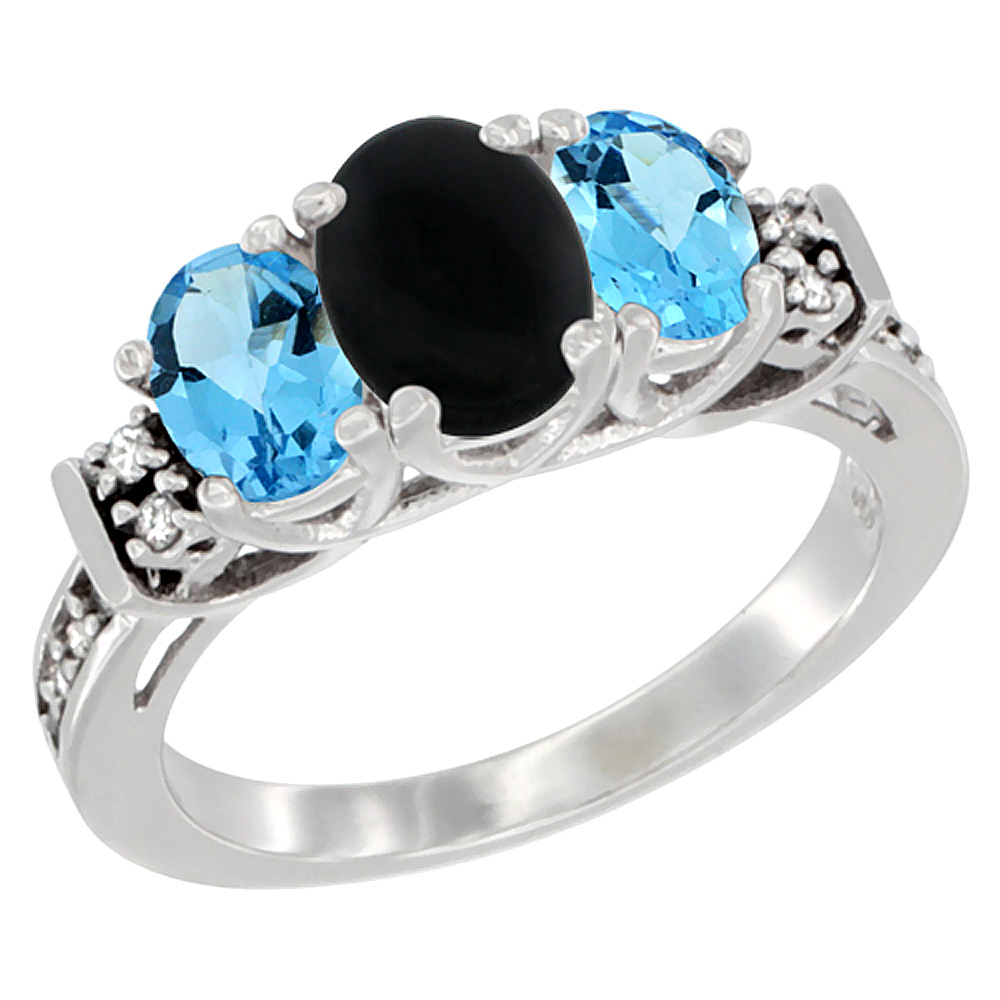 10K White Gold Natural Black Onyx & Swiss Blue Topaz Ring 3-Stone Oval Diamond Accent, sizes 5-10
