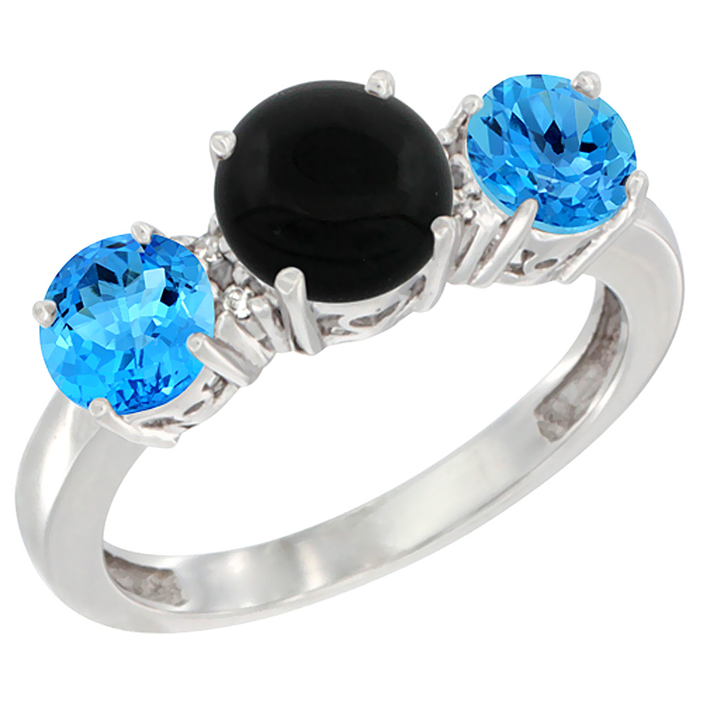 10K White Gold Round 3-Stone Natural Black Onyx Ring & Swiss Blue Topaz Sides Diamond Accent, sizes 5 - 10