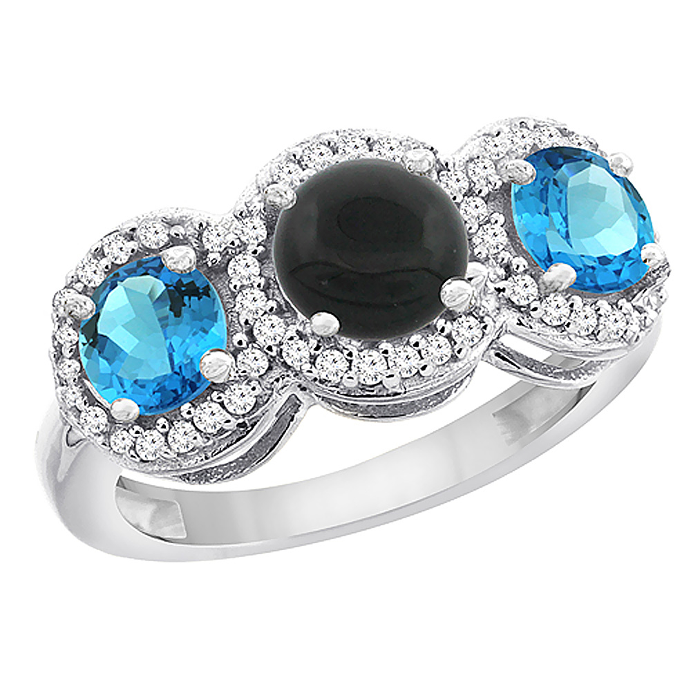10K White Gold Natural Black Onyx & Swiss Blue Topaz Sides Round 3-stone Ring Diamond Accents, sizes 5 - 10