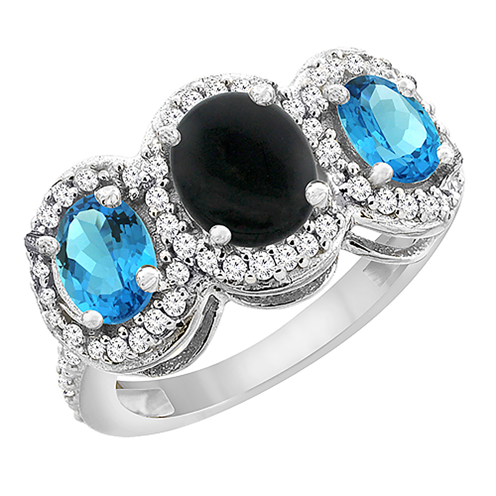 14K White Gold Natural Black Onyx & Swiss Blue Topaz 3-Stone Ring Oval Diamond Accent, sizes 5 - 10