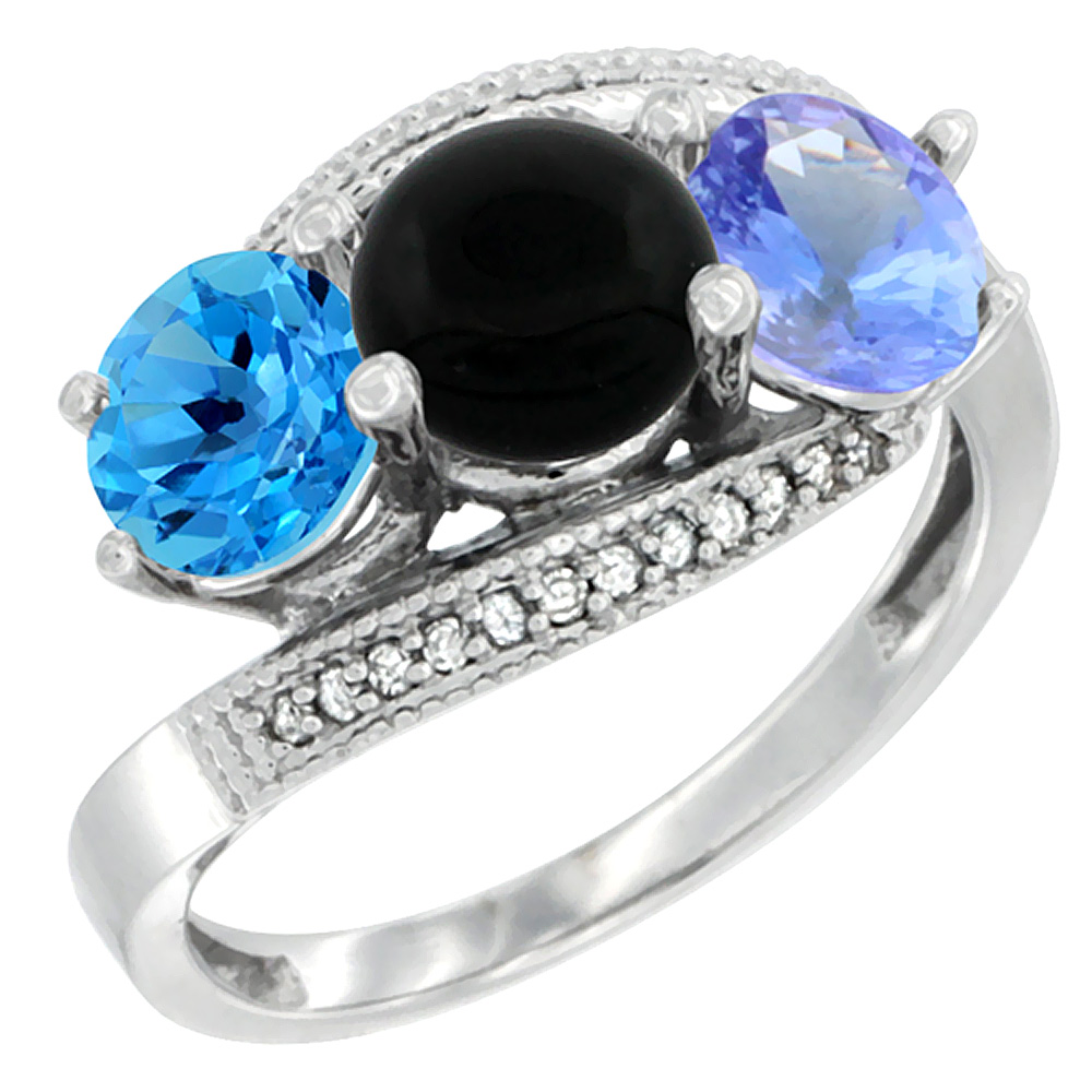 14K White Gold Natural Swiss Blue Topaz, Black Onyx & Tanzanite 3 stone Ring Round 6mm Diamond Accent, sizes 5 - 10