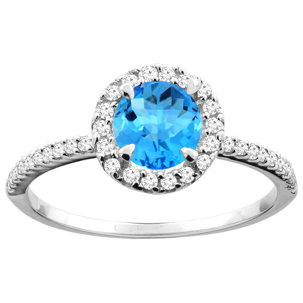 14K Gold Natural Swiss Blue Topaz Ring Round 6mm Diamond Accents, sizes 5 - 10