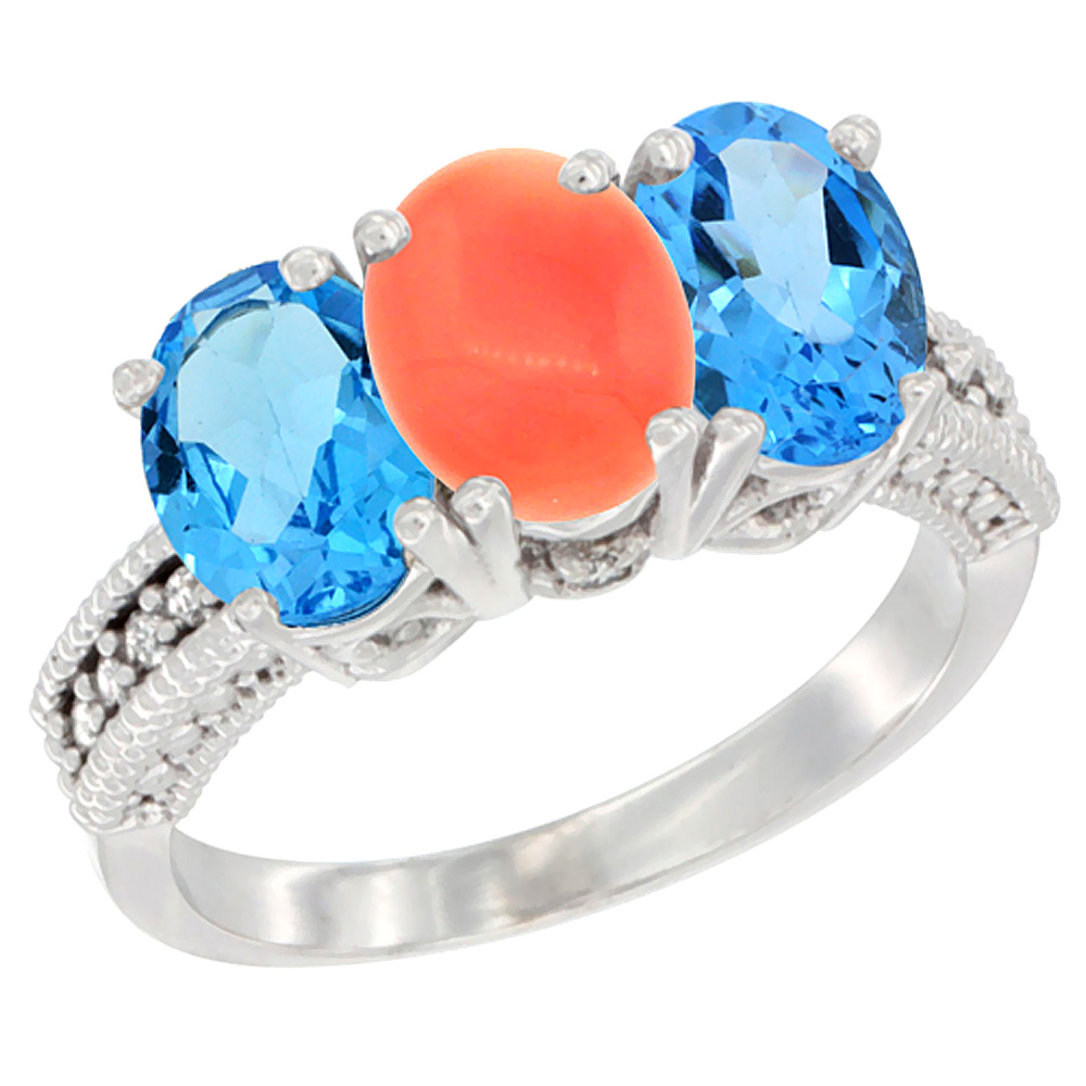 14K White Gold Natural Coral & Swiss Blue Topaz Sides Ring 3-Stone 7x5 mm Oval Diamond Accent, sizes 5 - 10