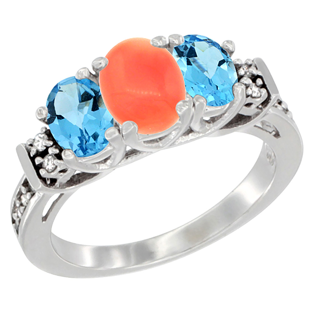 14K White Gold Natural Coral & Swiss Blue Topaz Ring 3-Stone Oval Diamond Accent, sizes 5-10