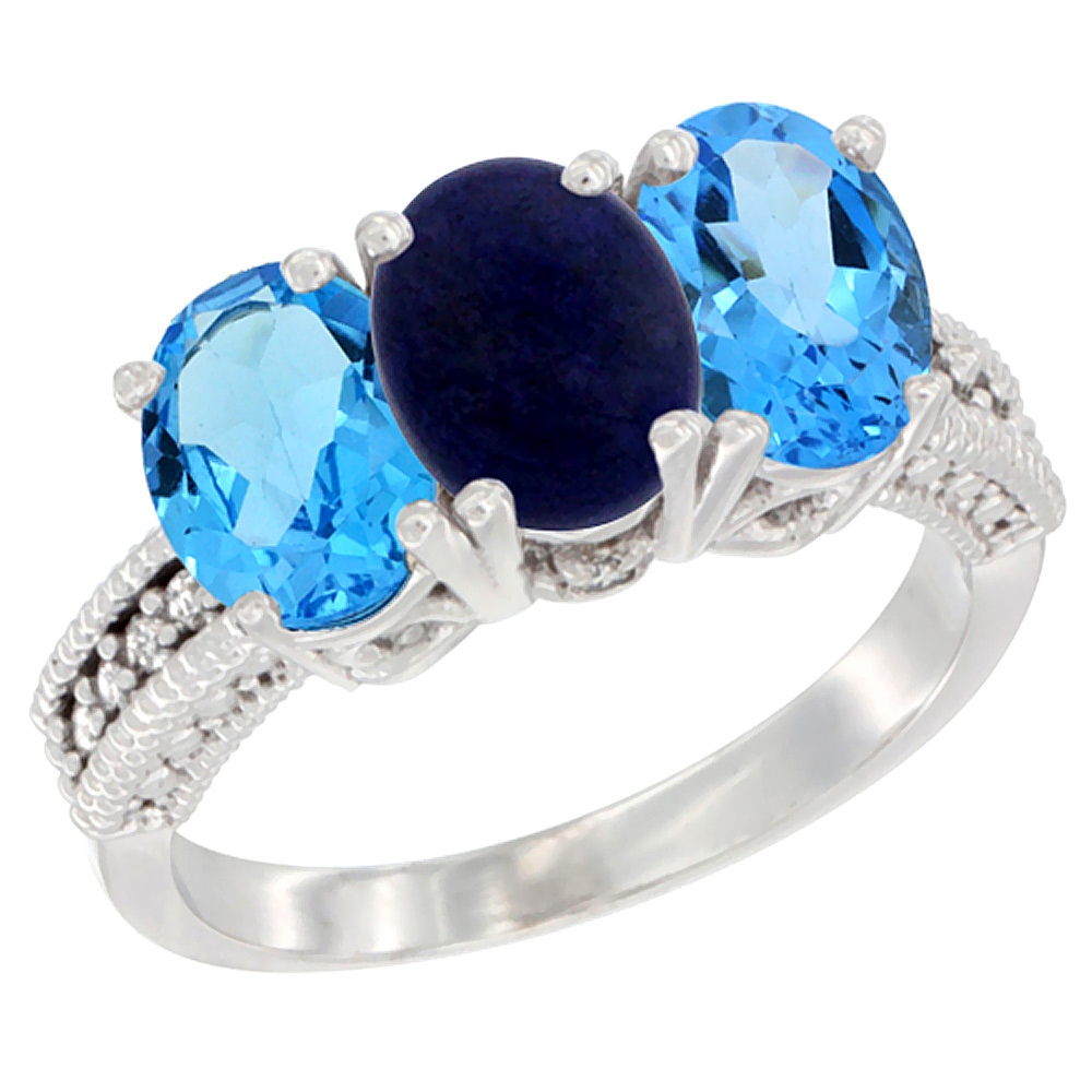 14K White Gold Natural Lapis & Swiss Blue Topaz Sides Ring 3-Stone 7x5 mm Oval Diamond Accent, sizes 5 - 10