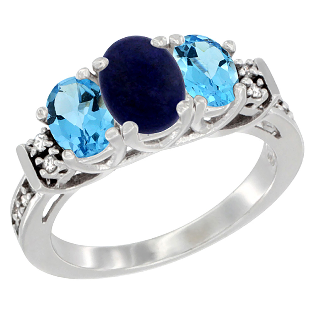 14K White Gold Natural Lapis & Swiss Blue Topaz Ring 3-Stone Oval Diamond Accent, sizes 5-10