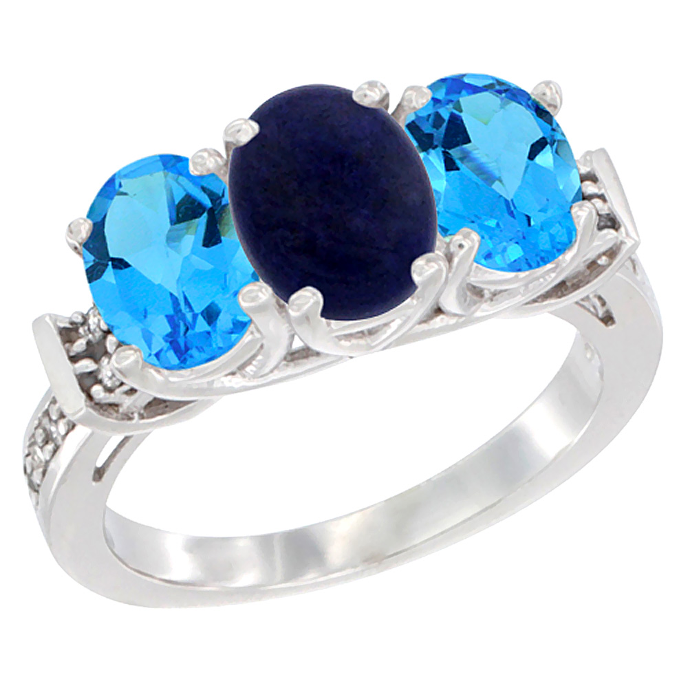 14K White Gold Natural Lapis & Swiss Blue Topaz Sides Ring 3-Stone Oval Diamond Accent, sizes 5 - 10