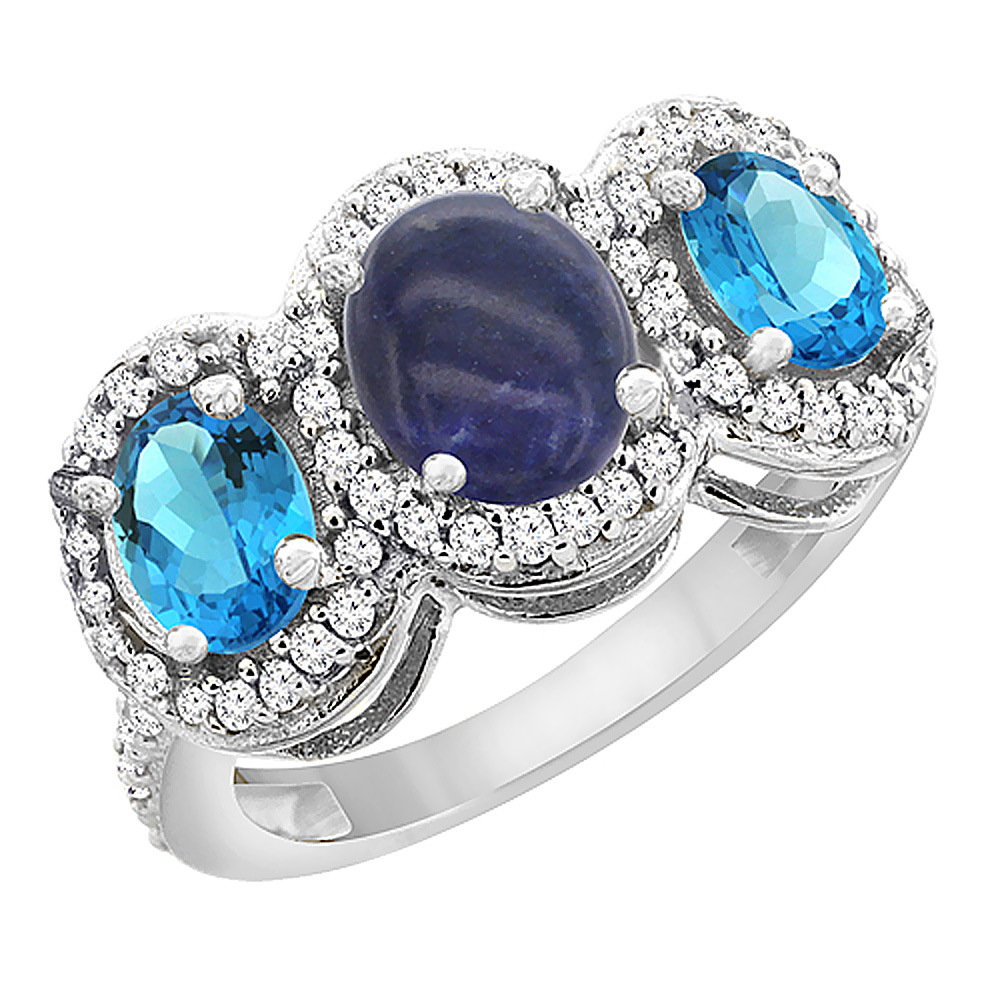 10K White Gold Natural Lapis & Swiss Blue Topaz 3-Stone Ring Oval Diamond Accent, sizes 5 - 10