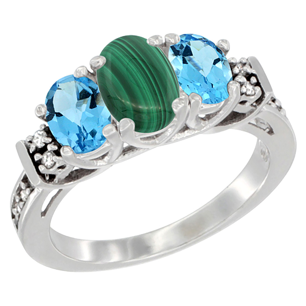 14K White Gold Natural Malachite & Swiss Blue Topaz Ring 3-Stone Oval Diamond Accent, sizes 5-10