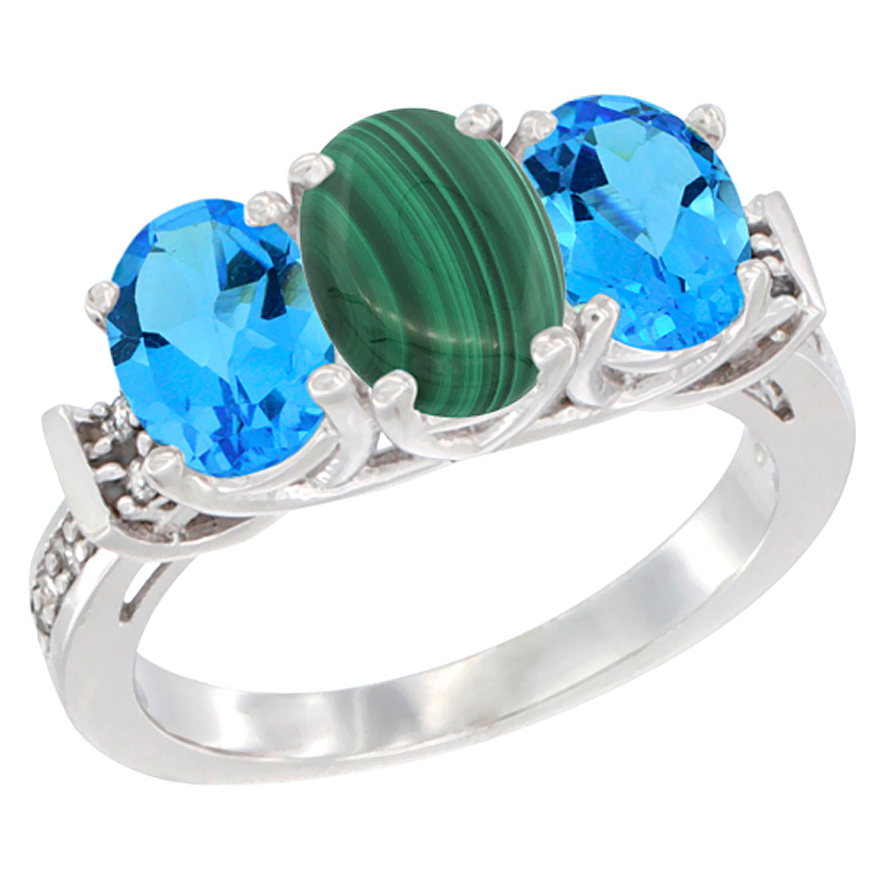 14K White Gold Natural Malachite & Swiss Blue Topaz Sides Ring 3-Stone Oval Diamond Accent, sizes 5 - 10
