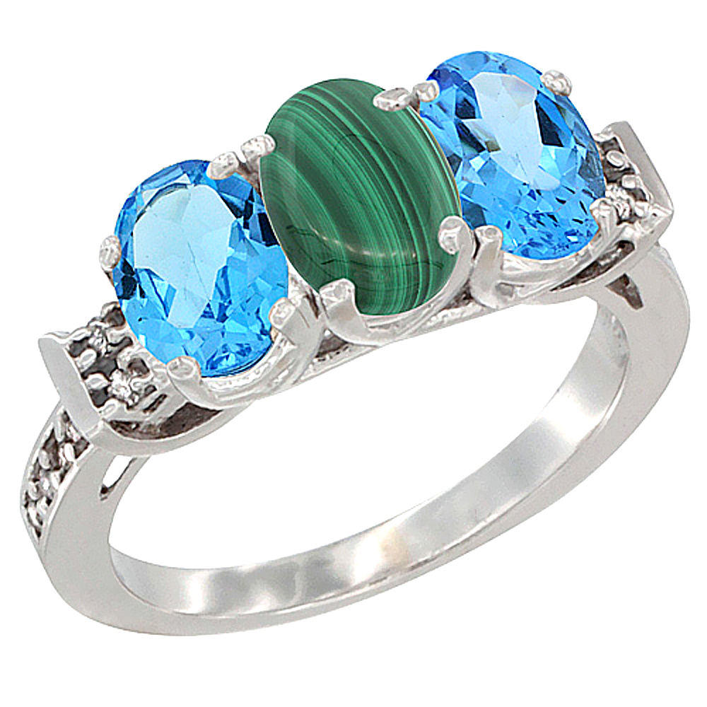 10K White Gold Natural Malachite & Swiss Blue Topaz Sides Ring 3-Stone Oval 7x5 mm Diamond Accent, sizes 5 - 10