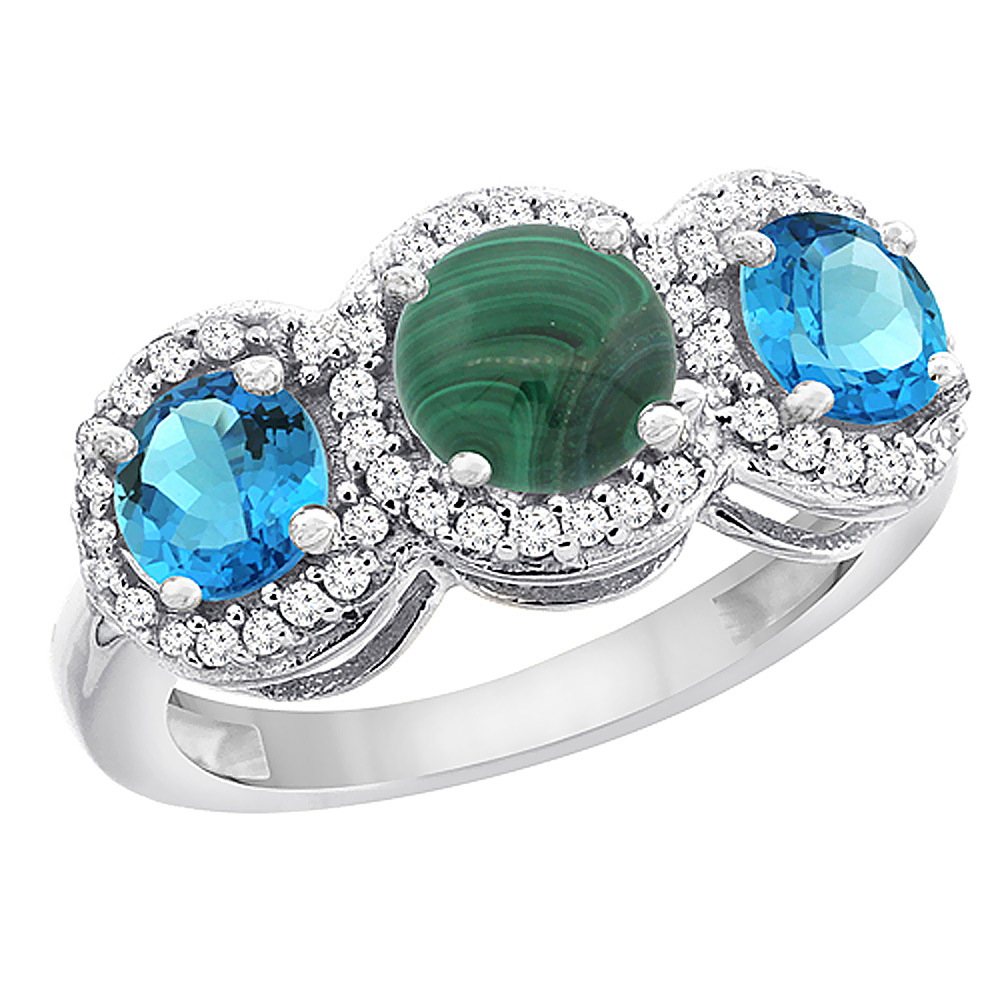 10K White Gold Natural Malachite & Swiss Blue Topaz Sides Round 3-stone Ring Diamond Accents, sizes 5 - 10