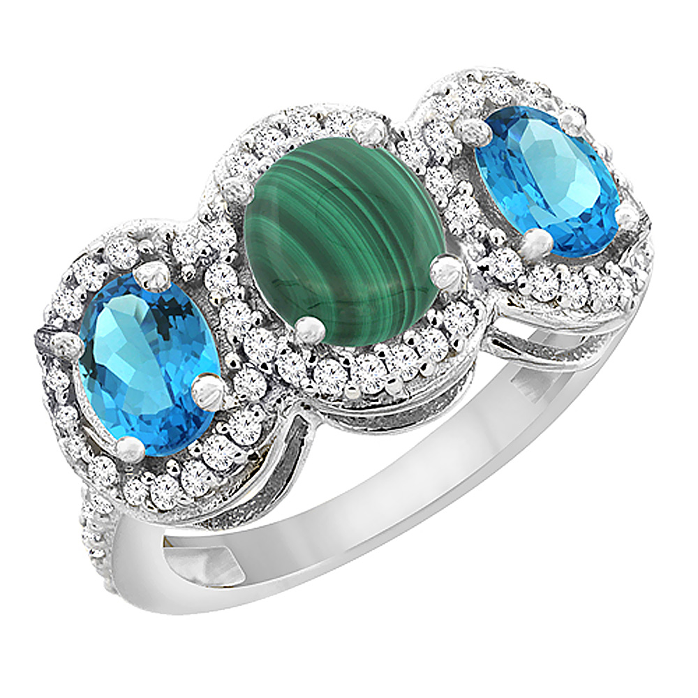 10K White Gold Natural Malachite & Swiss Blue Topaz 3-Stone Ring Oval Diamond Accent, sizes 5 - 10