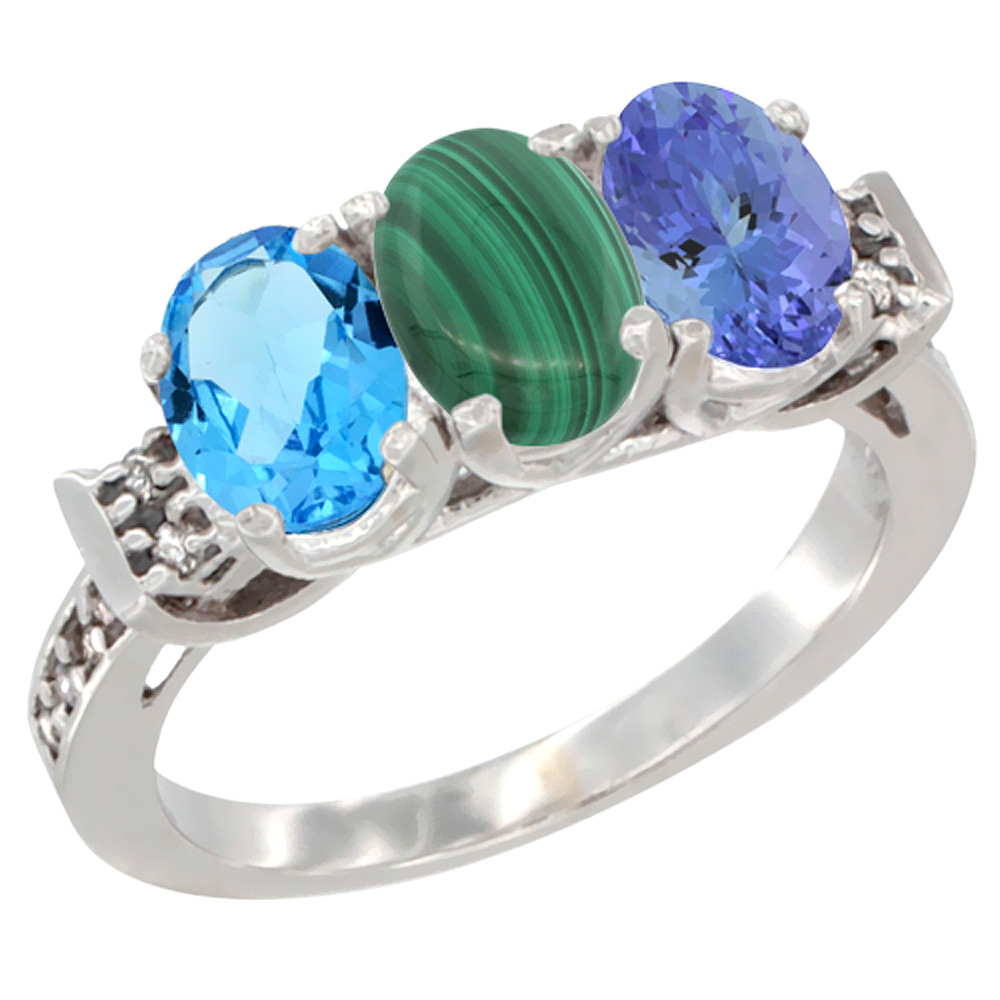 10K White Gold Natural Swiss Blue Topaz, Malachite & Tanzanite Ring 3-Stone Oval 7x5 mm Diamond Accent, sizes 5 - 10