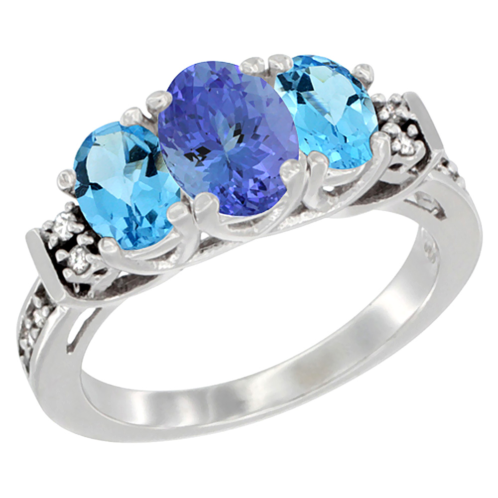 14K White Gold Natural Tanzanite & Swiss Blue Topaz Ring 3-Stone Oval Diamond Accent, sizes 5-10