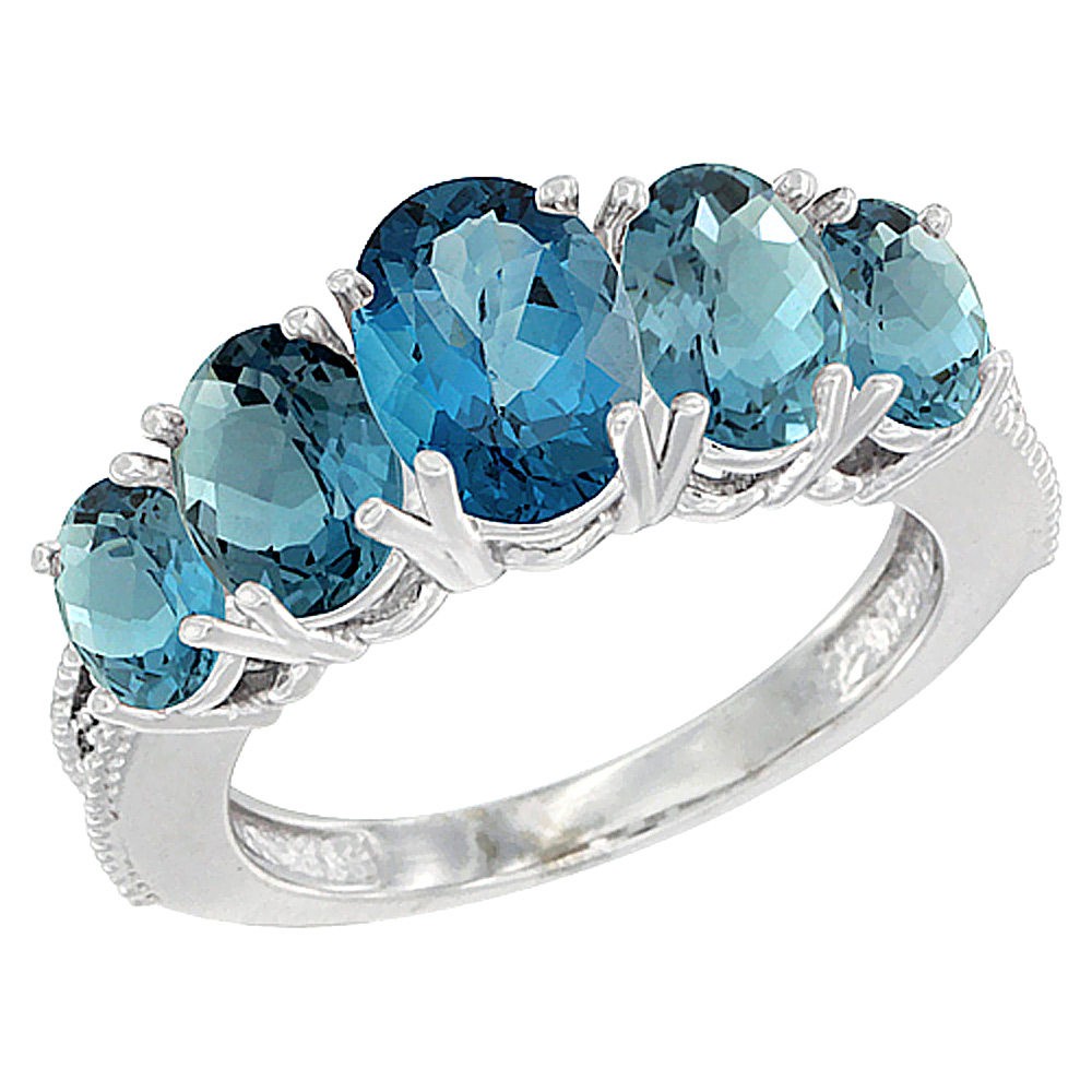 10K White Gold Diamond Natural London Blue Topaz Ring 5-stone Oval 8x6 Ctr,7x5,6x4 sides, sizes 5 - 10