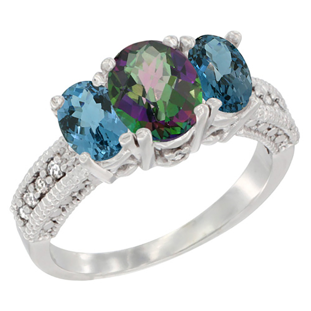 10K White Gold Diamond Natural Mystic Topaz Ring Oval 3-stone with London Blue Topaz, sizes 5 - 10