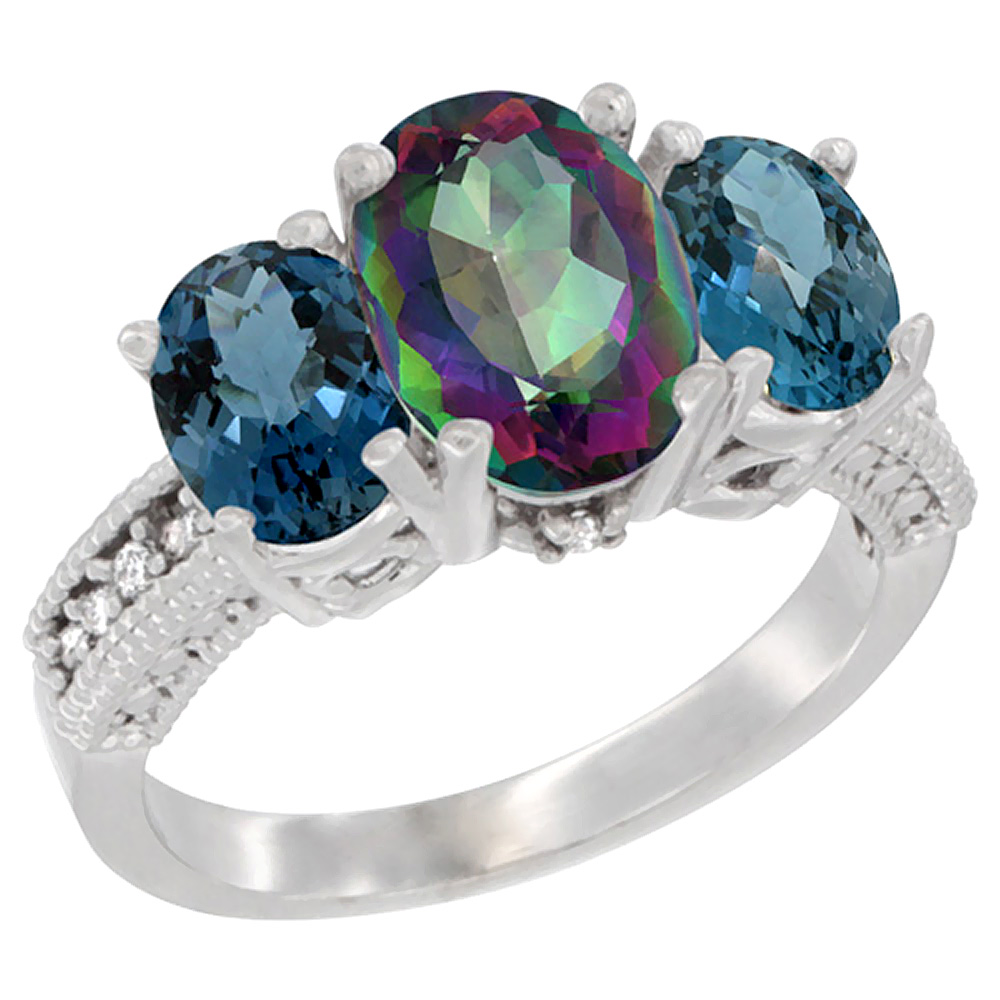 10K White Gold Natural Mystic Topaz Ring Ladies 3-Stone 8x6 Oval with London Blue Topaz Sides Diamond Accent, sizes 5 - 10