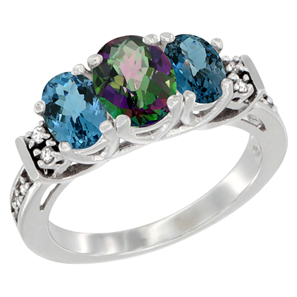 10K White Gold Natural Mystic Topaz & London Blue Ring 3-Stone Oval Diamond Accent, sizes 5-10
