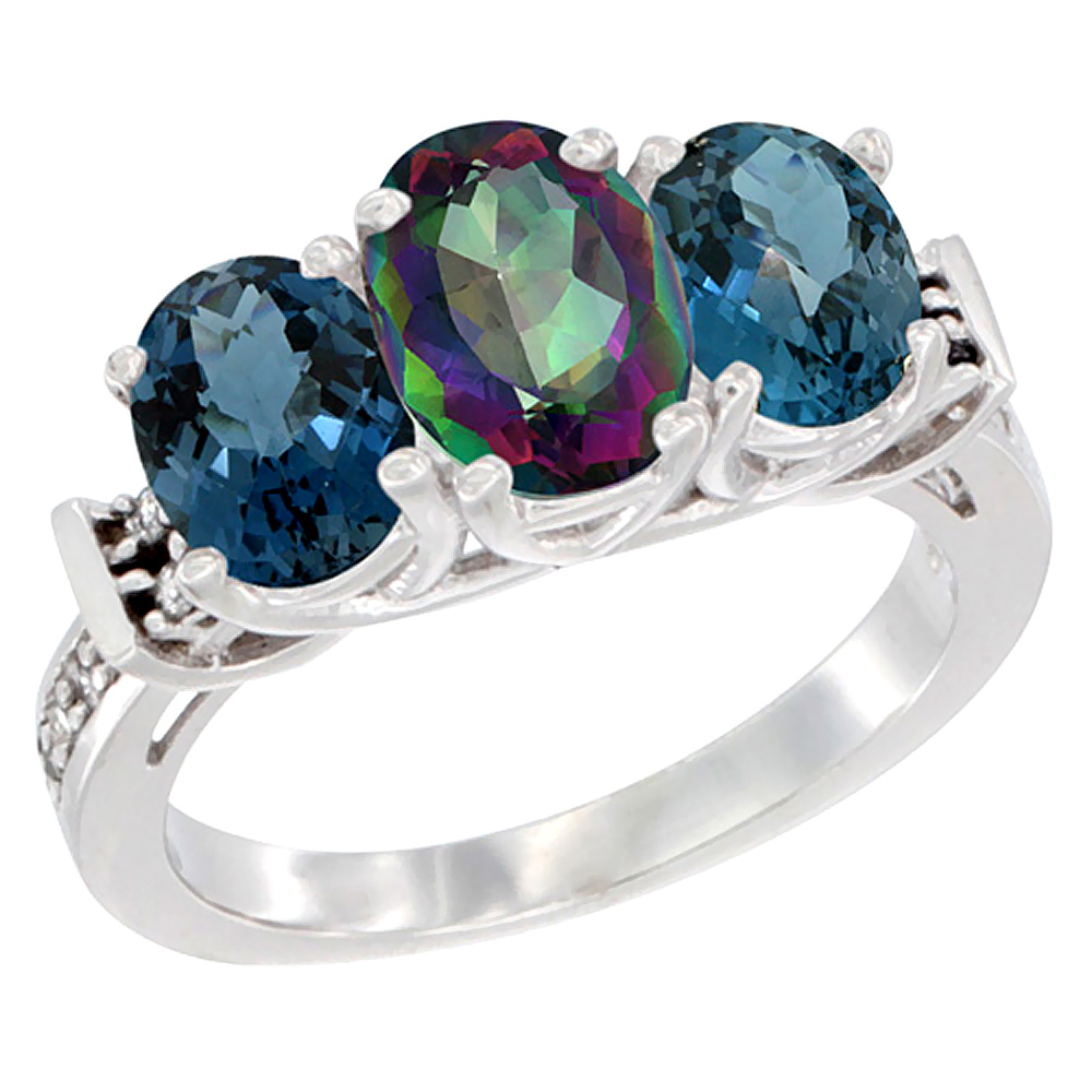 10K White Gold Natural Mystic Topaz & London Blue Topaz Sides Ring 3-Stone Oval Diamond Accent, sizes 5 - 10