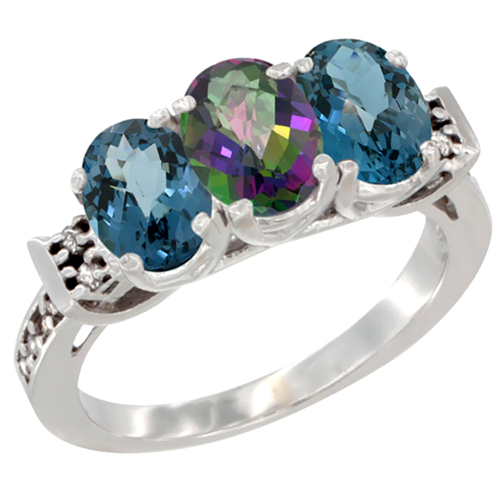 10K White Gold Natural Mystic Topaz & London Blue Topaz Sides Ring 3-Stone Oval 7x5 mm Diamond Accent, sizes 5 - 10