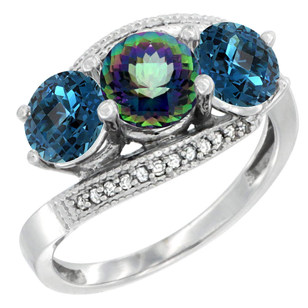 10K White Gold Natural Mystic Topaz & London Blue Topaz Sides 3 stone Ring Round 6mm Diamond Accent, sizes 5 - 10