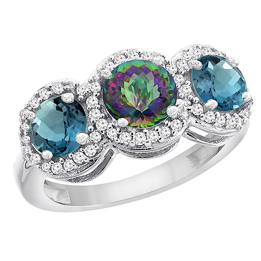 10K White Gold Natural Mystic Topaz & London Blue Topaz Sides Round 3-stone Ring Diamond Accents, sizes 5 - 10