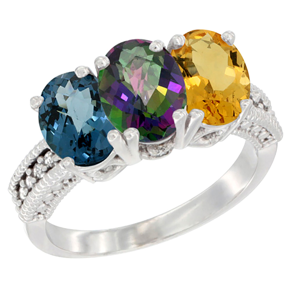 10K White Gold Natural London Blue Topaz, Mystic Topaz & Citrine Ring 3-Stone Oval 7x5 mm Diamond Accent, sizes 5 - 10