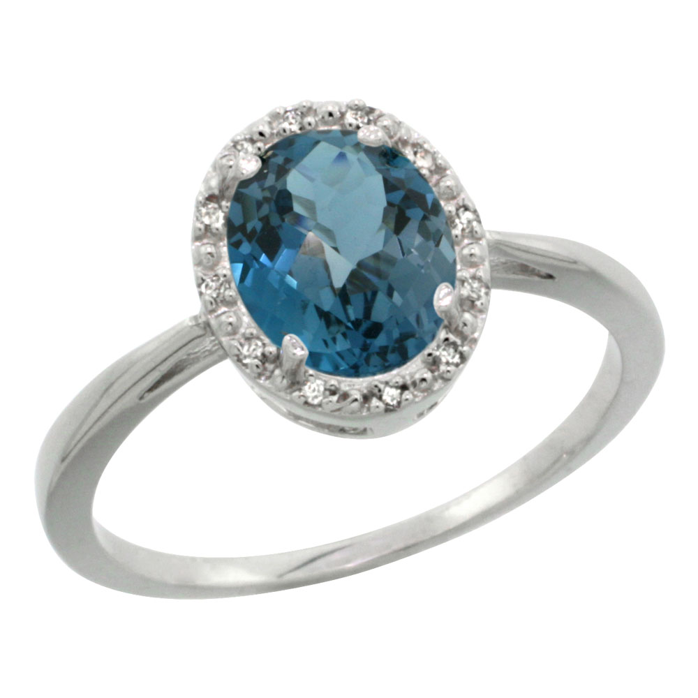 10K White Gold Natural London Blue Topaz Diamond Halo Ring Oval 8X6mm, sizes 5 - 10