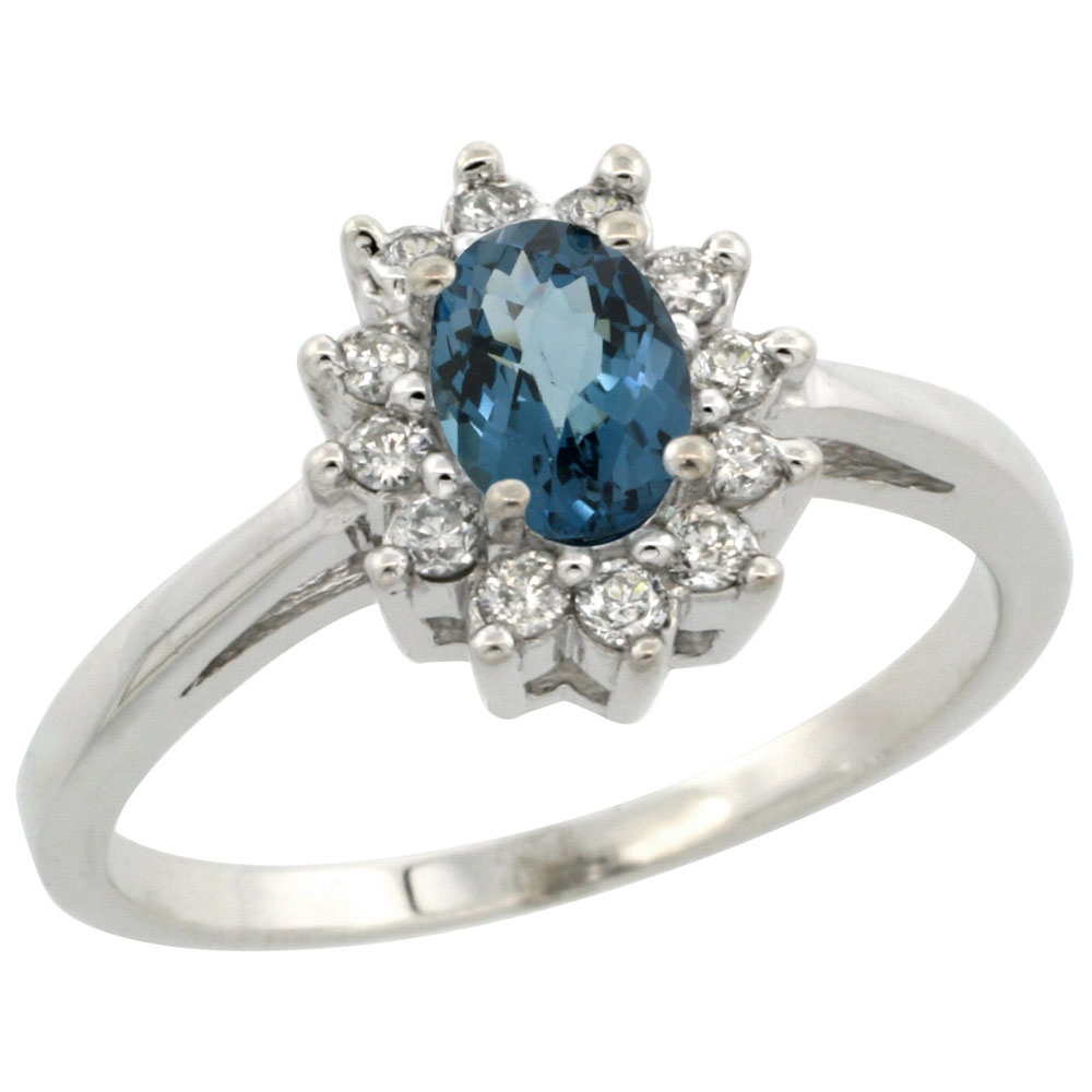 10K White Gold Natural London Blue Topaz Flower Diamond Halo Ring Oval 6x4 mm, sizes 5 10