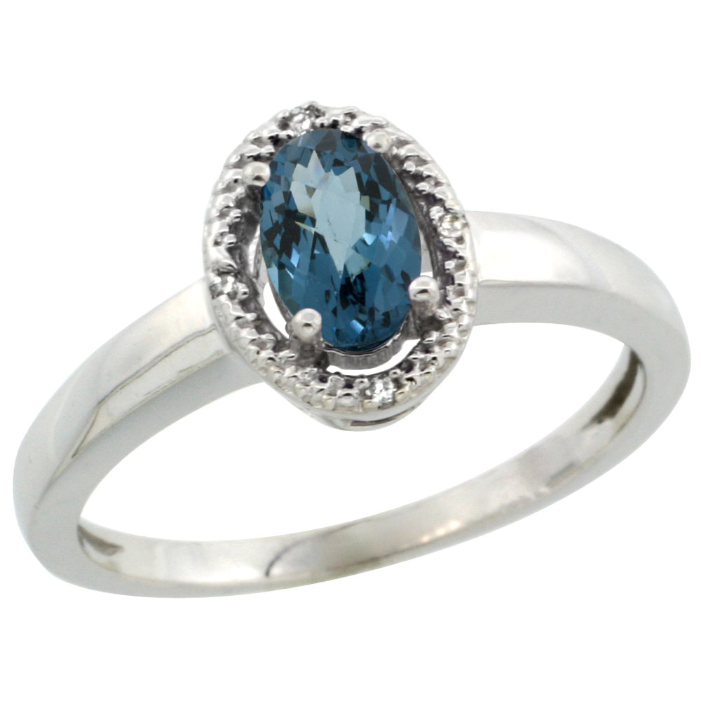 10K White Gold Diamond Halo Natural London Blue Topaz Engagement Ring Oval 6X4 mm, sizes 5-10