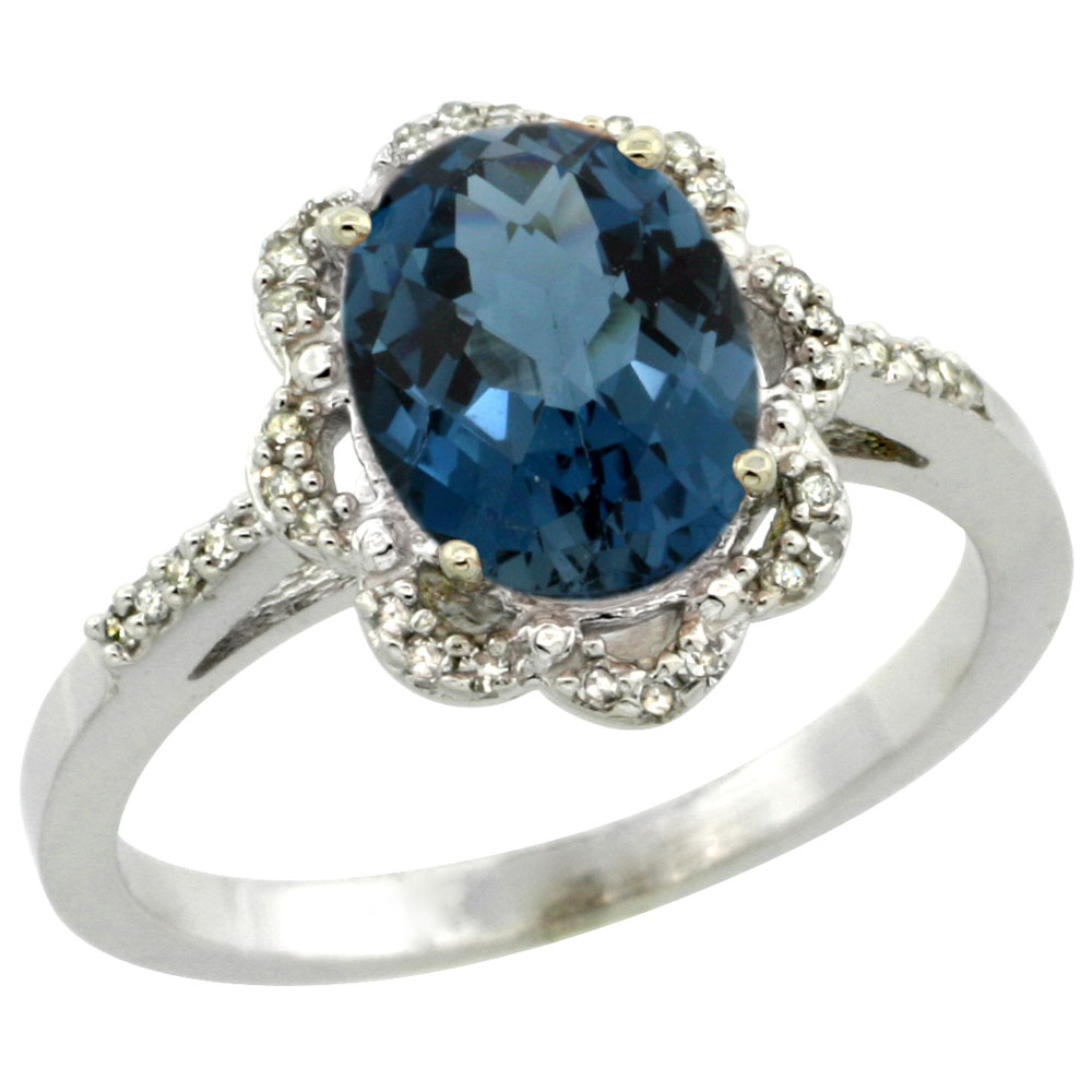 10K White Gold Diamond Halo Natural London Blue Topaz Engagement Ring Oval 9x7mm, sizes 5-10