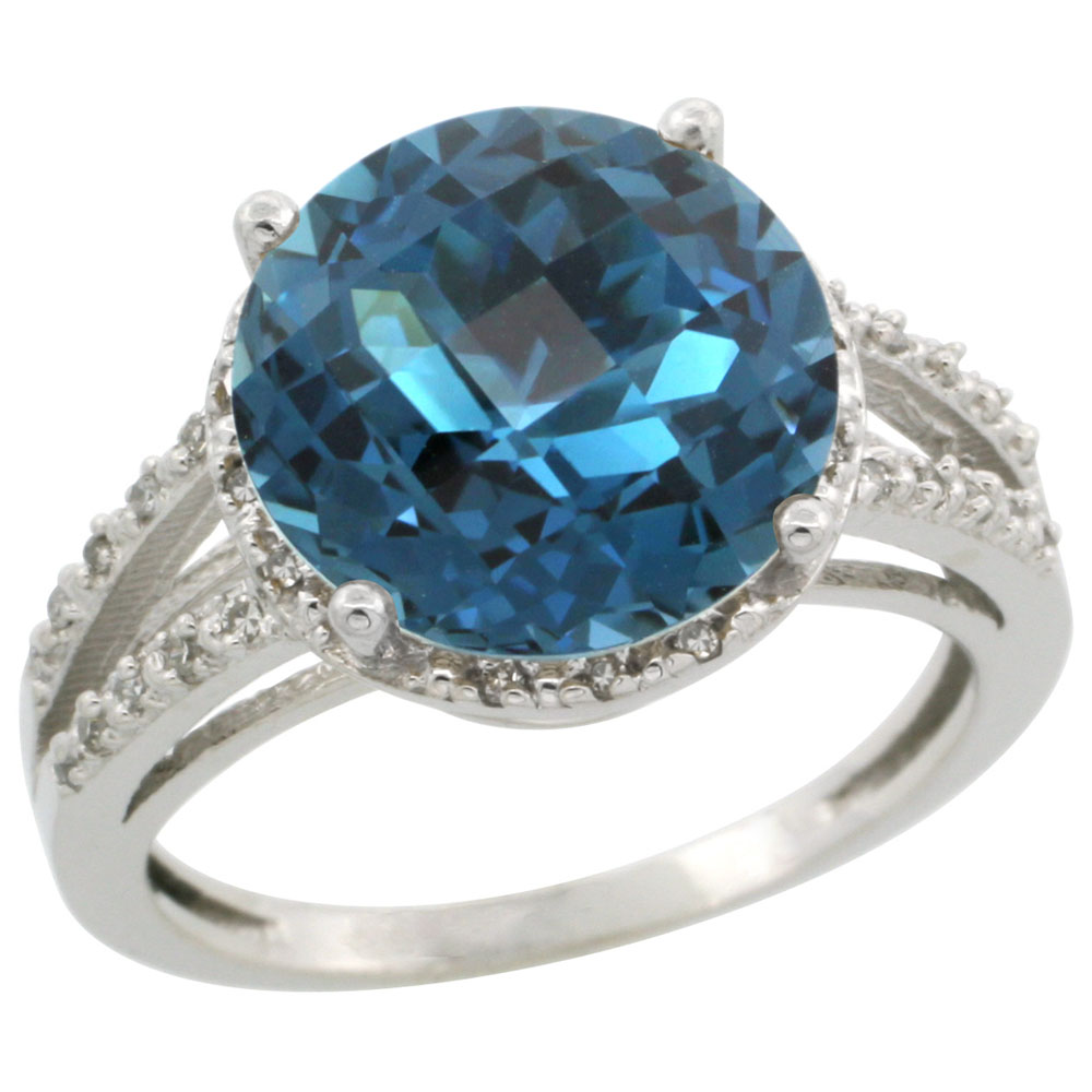 10K White Gold Diamond Natural London Blue Topaz Ring Round 11mm, sizes 5-10