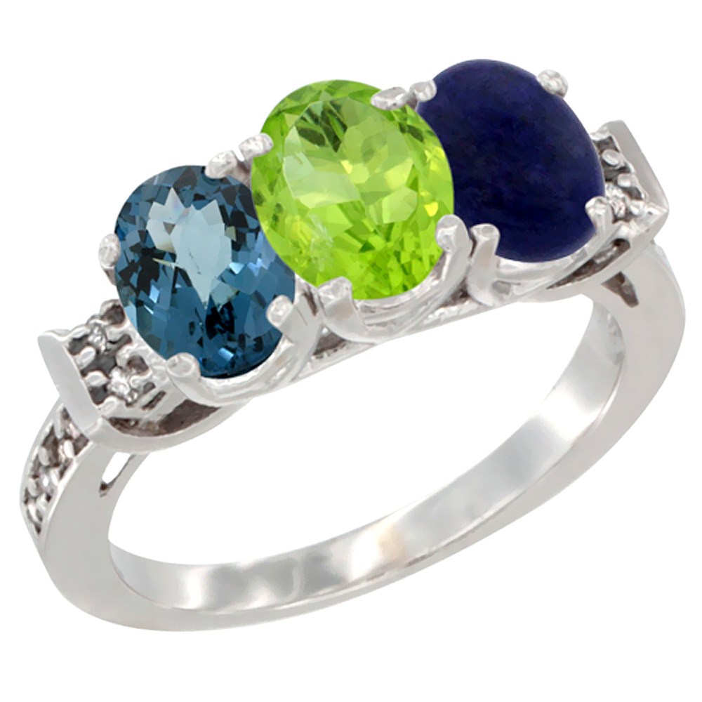 10K White Gold Natural London Blue Topaz, Peridot & Lapis Ring 3-Stone Oval 7x5 mm Diamond Accent, sizes 5 - 10