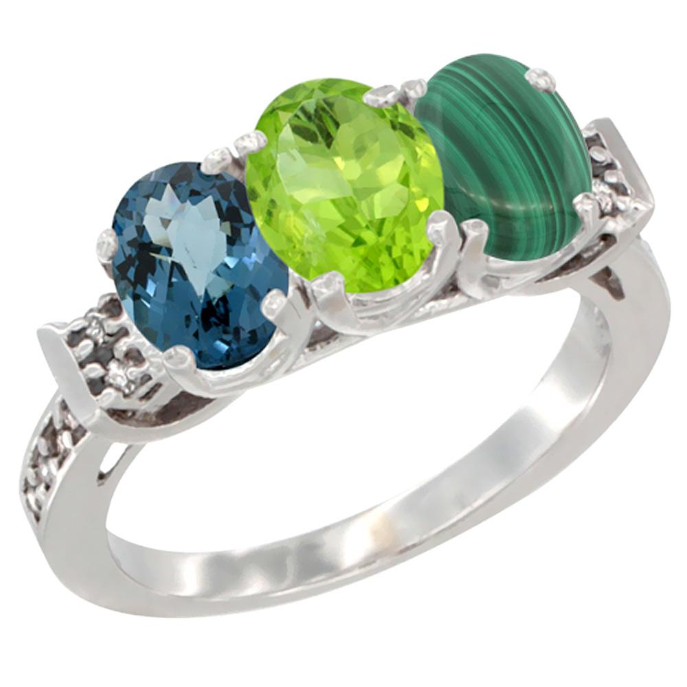 10K White Gold Natural London Blue Topaz, Peridot & Malachite Ring 3-Stone Oval 7x5 mm Diamond Accent, sizes 5 - 10