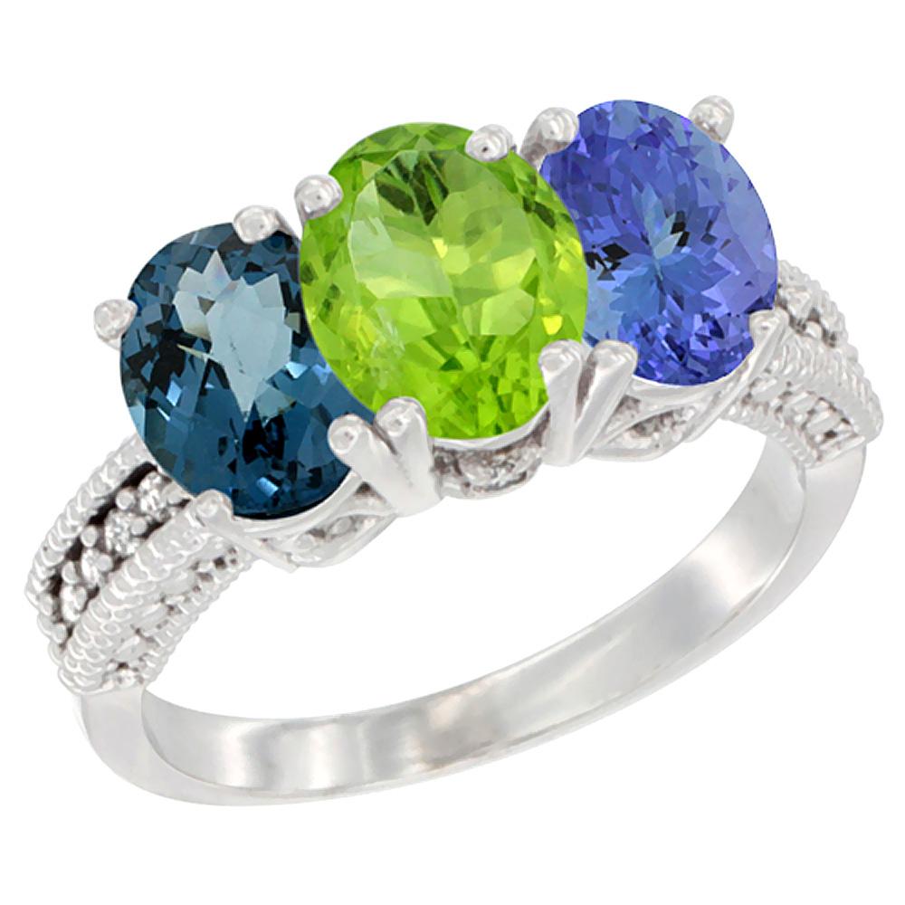10K White Gold Natural London Blue Topaz, Peridot & Tanzanite Ring 3-Stone Oval 7x5 mm Diamond Accent, sizes 5 - 10