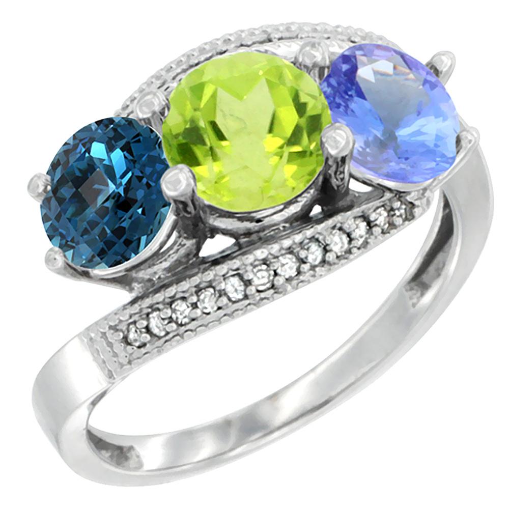 10K White Gold Natural London Blue Topaz, Peridot & Tanzanite 3 stone Ring Round 6mm Diamond Accent, sizes 5 - 10