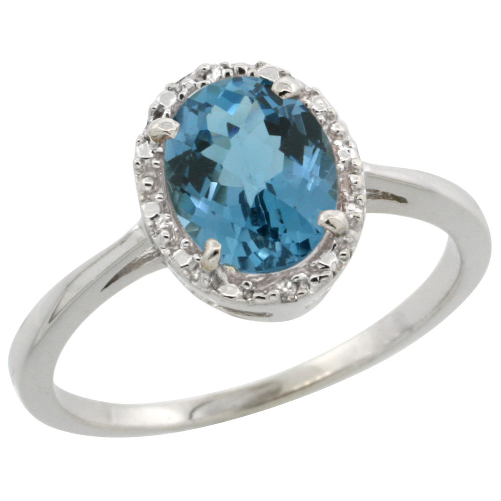 14K White Gold Natural London Blue Topaz Ring Oval 8x6 mm Diamond Halo, sizes 5-10