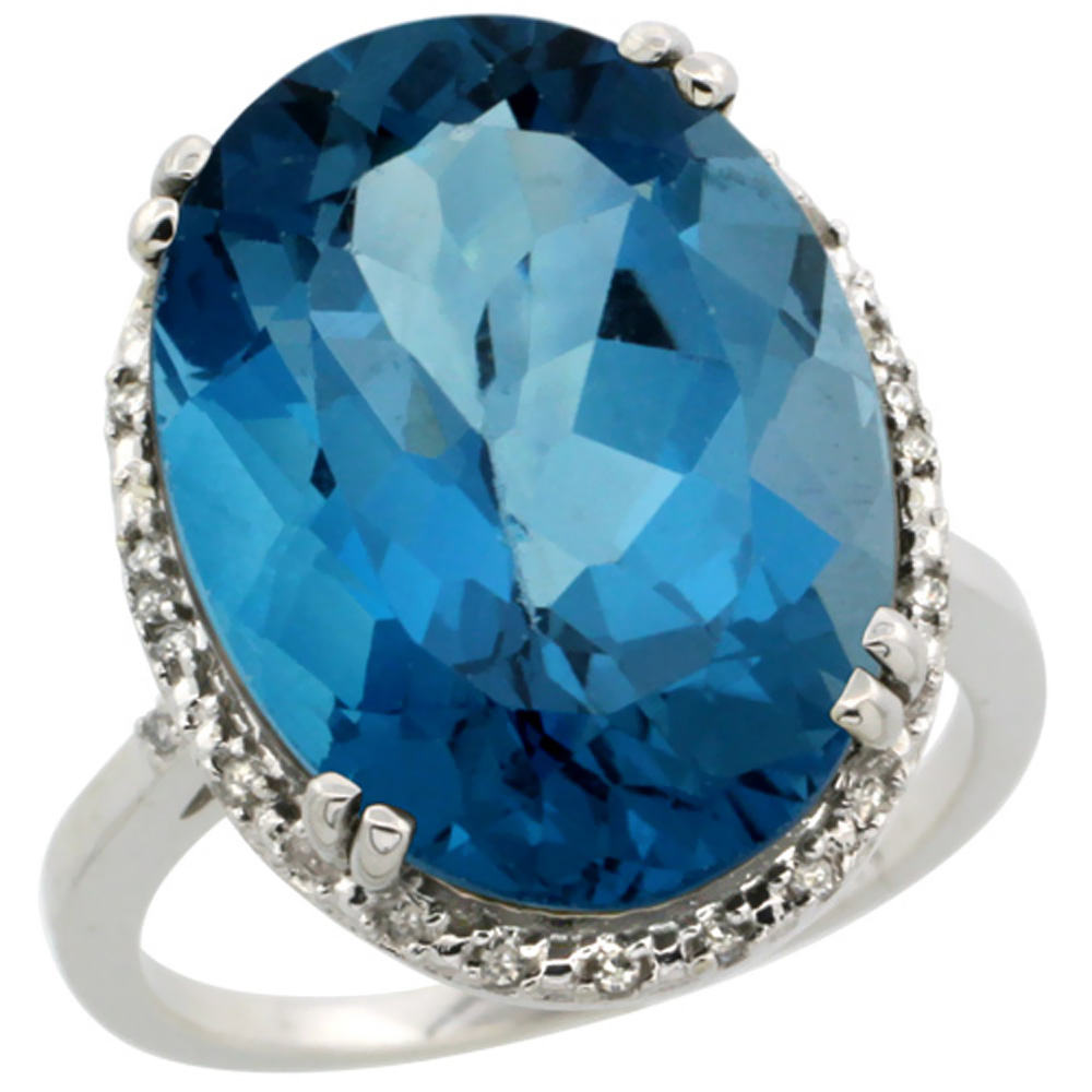 14K White Gold Natural London Blue Topaz Ring Large Oval 18x13mm Diamond Halo, sizes 5-10