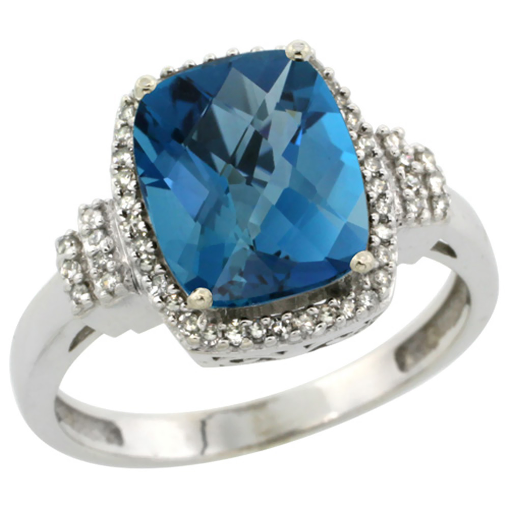 10k White Gold Natural London Blue Topaz Ring Cushion-cut 9x7mm Diamond Halo, sizes 5-10